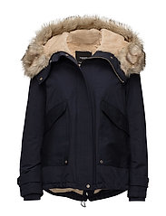 Furry hooded parka - NAVY