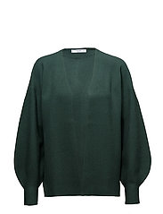 Puffed sleeves cardigan - GREEN