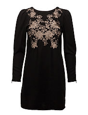 Embroidered panel dress - OPEN GREY