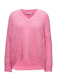 V-neckline oversize sweater - PINK