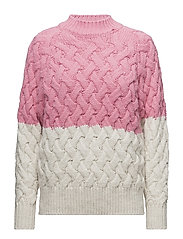 Bicolor cable-knit sweater - LIGHT BEIGE