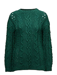 Openwork cable-knit sweater - GREEN