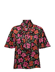 Floral print blouse - BLACK