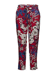 Drawstring flowy trousers - RED