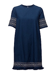 Embroidered denim dress - OPEN BLUE