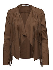 Fringed jacket - DARK BROWN