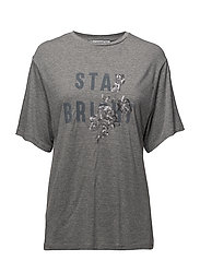 Sequined message t-shirt - LT PASTEL GREY