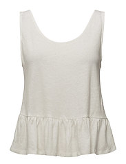 Bow linen top - NATURAL WHITE