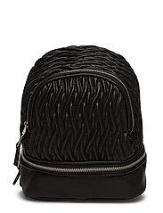 Zip-detail texture backpack - BLACK