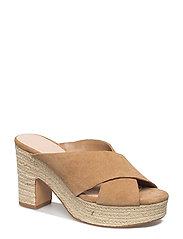 Esparto leather sandals - MEDIUM BROWN