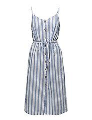 Floral print linen-blend dress - NATURAL WHITE