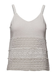 Blond lace panel top - NATURAL WHITE