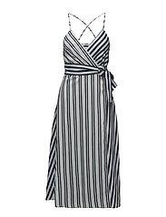 Striped wrap dress - MEDIUM BLUE