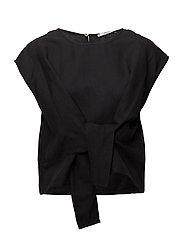 Bow linen t-shirt - BLACK