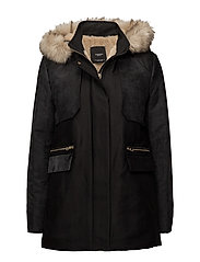 Faux fur appliqu quilted parka - BLACK