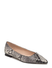 Snake-finish flat shoes - GREY