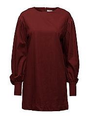 Puffed sleeves dress - DARK RED