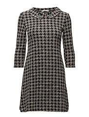 Jewel houndstooth dress - BLACK