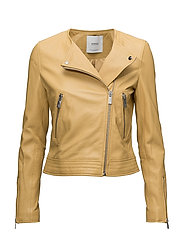 Zip leather jacket - YELLOW