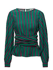 Striped bow blouse - GREEN