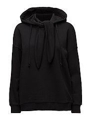 Knotted cotton-blend sweatshirt - BLACK