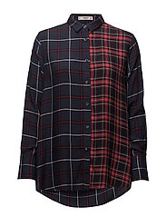 Mixed print shirt - NAVY