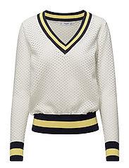 Tricolor openwork sweater - LIGHT BEIGE