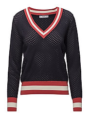 Tricolor openwork sweater - NAVY