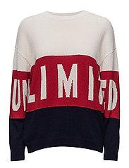 Message knitted sweater - LIGHT BEIGE
