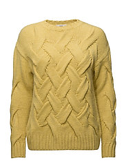 Knitted braided sweater - BRIGHT YELLOW