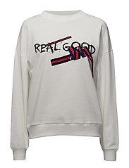 Appliqu message sweatshirt - WHITE