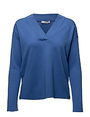 V-neckline sweater - MEDIUM BLUE