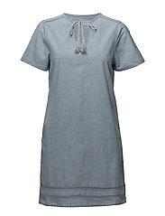Pompons detailed dress - OPEN BLUE