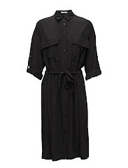 Bow shirt dress - BLACK