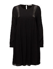 Openwork detail dress - BLACK