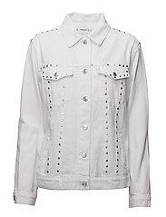 Studded denim jacket - WHITE
