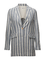 Striped linen blazer - MEDIUM BLUE