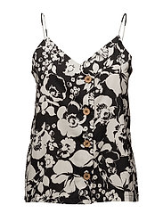 Printed buttoned top - BLACK