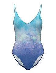 Tie-dye print swimsuit - MEDIUM BLUE