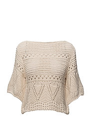 Openwork panel sweater - LIGHT BEIGE