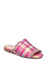 Check flat sandals - BRIGHT PINK