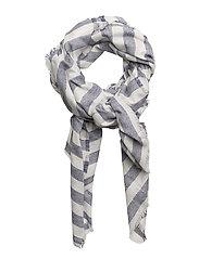 Stripe-pattern cotton scarf - NAVY
