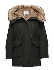 Furry hooded parka - DARK GREEN