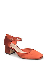 Satin ankle strap shoes - MEDIUM ORANGE