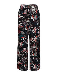 Floral print trousers - BLACK