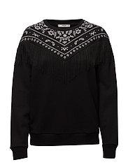 Fringed cotton-blend sweatshirt - BLACK