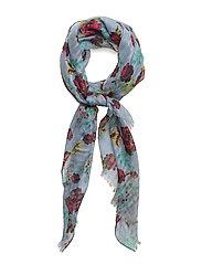 Floral print scarf - LT-PASTEL BLUE