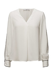 Contrast trim blouse - NATURAL WHITE