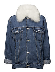 Embroidered denim jacket - OPEN BLUE