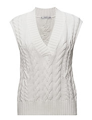 Chunky knit gilet - LIGHT BEIGE